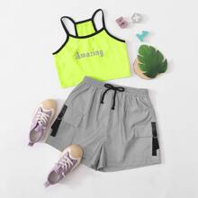 Girls Neon Lime Letter Graphic Ringer Cami Top & Reflective Shorts Set