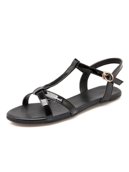 Milanoo Red Flat Sandals Women Open Toe T Type Buckle Detail Strap Sandal Shoes