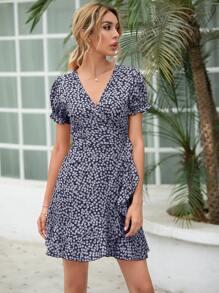 Ditsy Floral Print Self Tie Wrap Dress