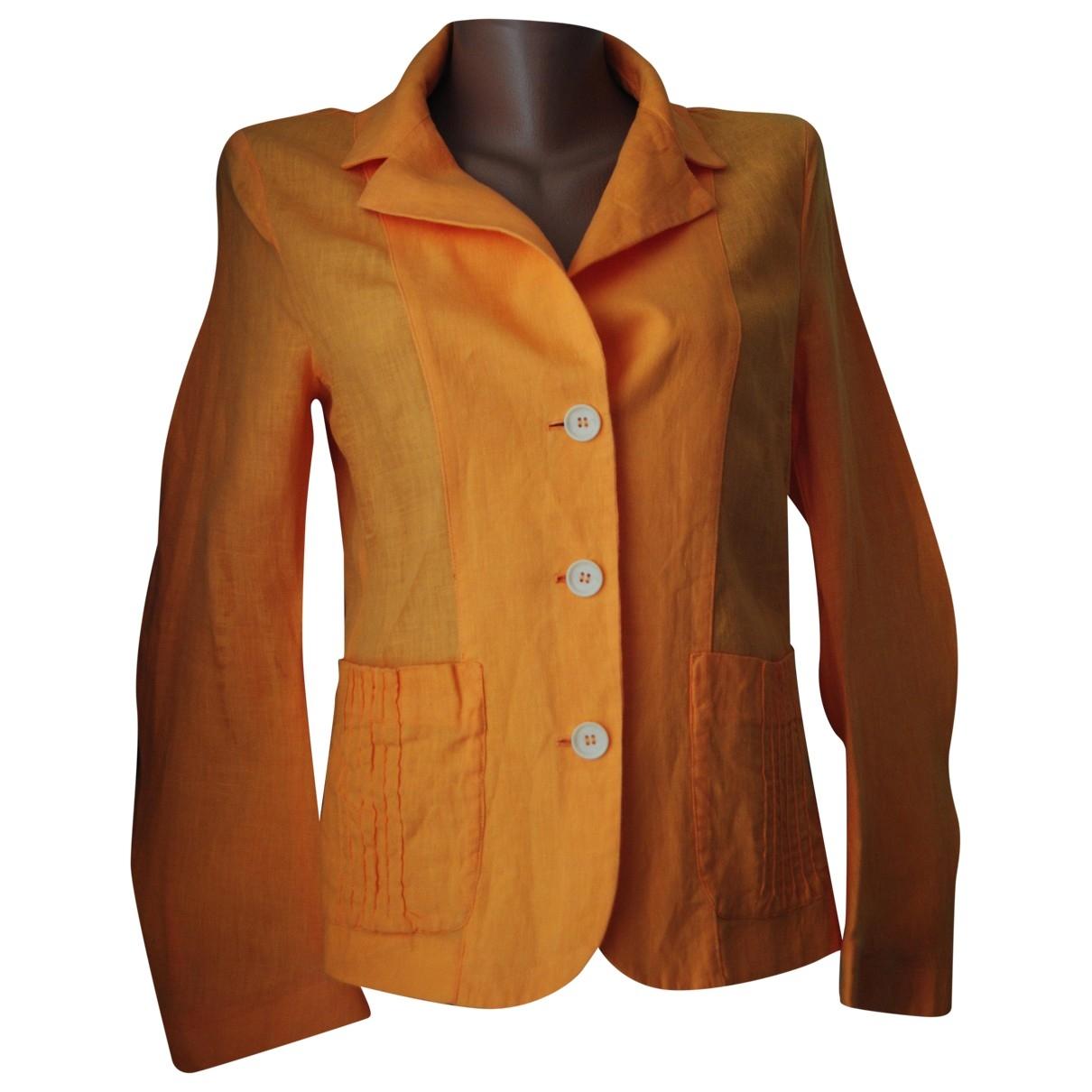 Non Signé / Unsigned \N Orange Linen jacket for Women 42 IT