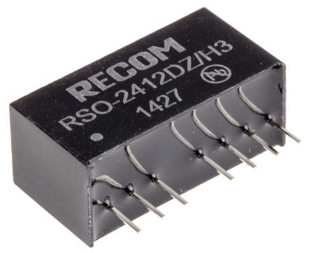 Recom RSO 1W Isolated DC-DC Converter Through Hole, Voltage in 9 ? 36 V dc, Voltage out �12V dc Medical Approved