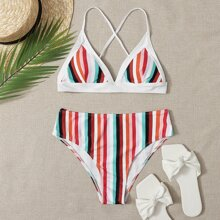 High Waist Stripe Bikini Swimsuit