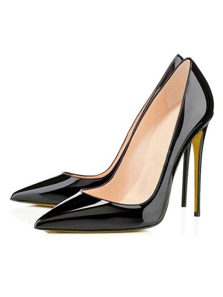 Milanoo Negro Zapatos de Tacon Alto para Mujer 2020 Zapatos de Vestido con Punta Puntiguada de Charol PU Zapatos Antideslizantes