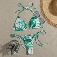 Leaf Print Triangle Tie Side Bikini Swimsuit
