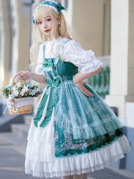 Milanoo Vestido clasico de Lolita JSK Faldas sin mangas con abertura frontal de Lolita de Neverland
