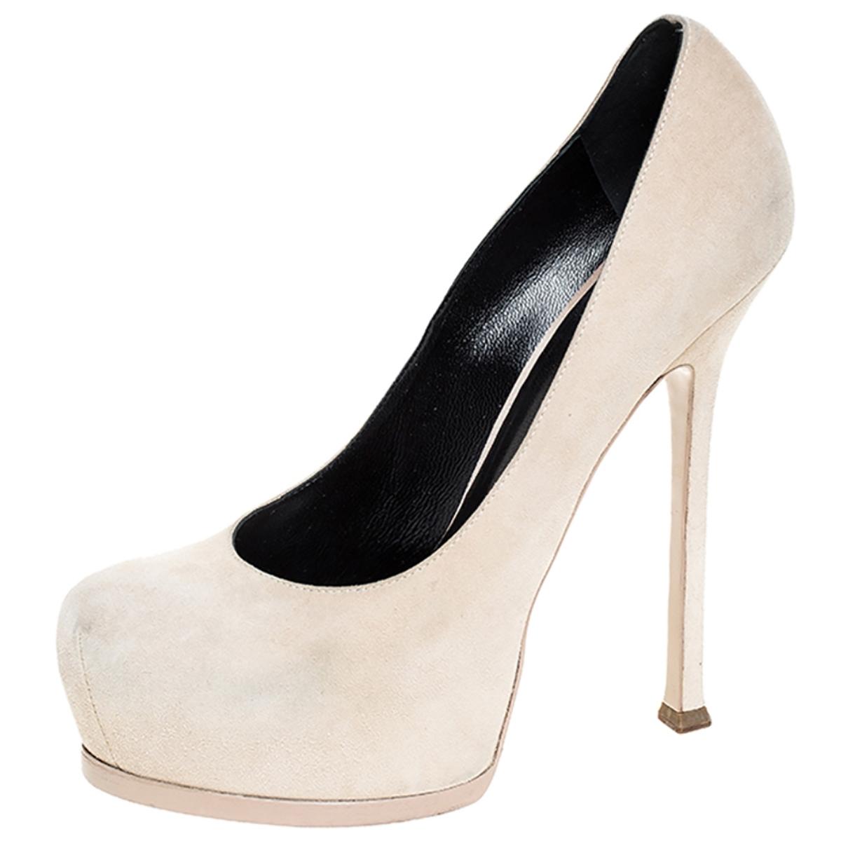 Saint Laurent \N Beige Leather Heels for Women 39.5 EU