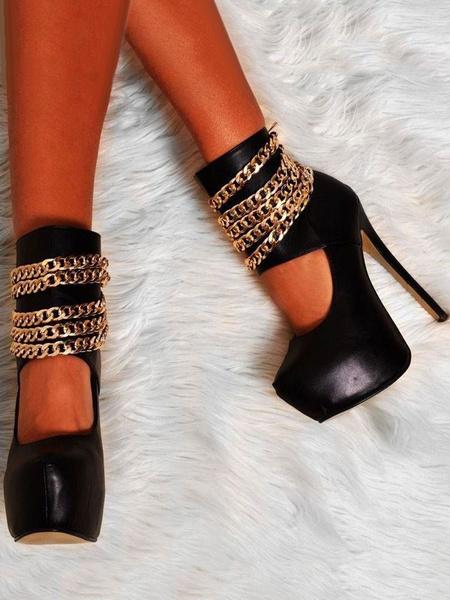Milanoo Zapatos de plataforma de puntera de forma de almendra de tacon de stiletto estilo moderno de PU Talla grande para mujer