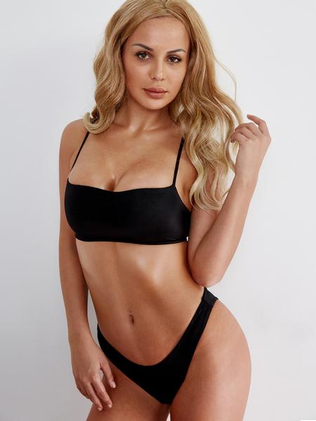 Yoins Black Spaghetti Bikini Set Swimwears