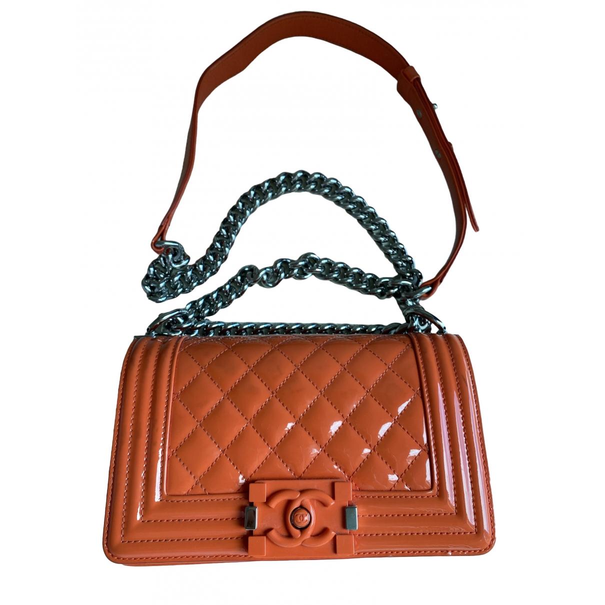 Chanel Boy Orange Patent leather handbag for Women \N