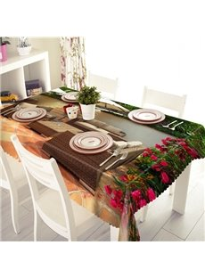 Comfortable Polyester Garden Sofa and Flower Pattern 3D Tablecloth
