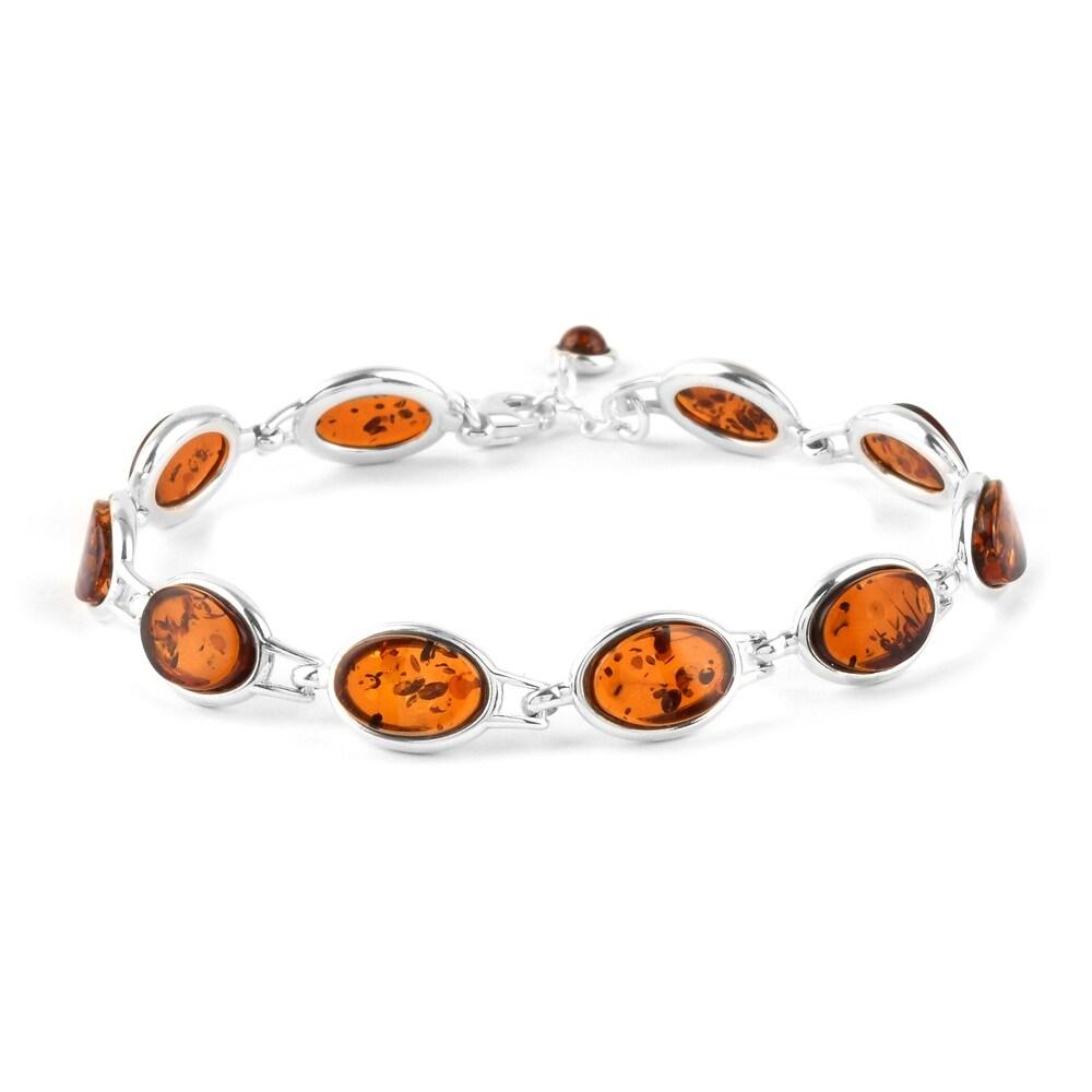925 Sterling Silver Amber Bracelet Size 6.5 Inch - Bracelet 6.5 (White - Amber - White - Bracelet 6.5)