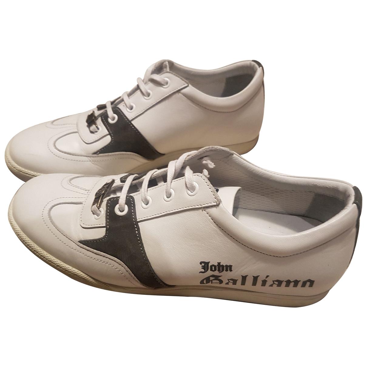 John Galliano - Baskets   pour homme en cuir - blanc