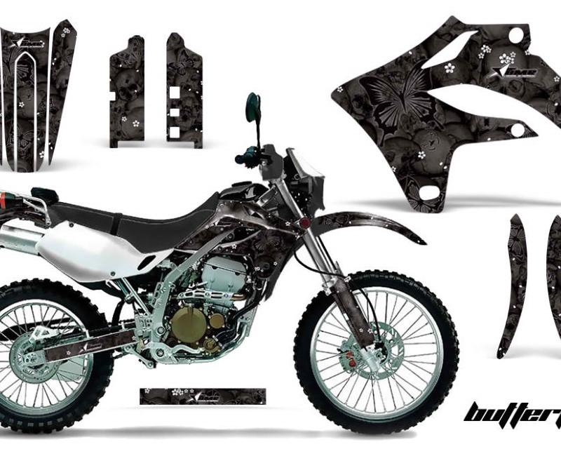 AMR Racing Dirt Bike Graphics Kit MX Decal Wrap For Kawasaki KLX250S 2004-2007áBUTTERFLIES BLACK