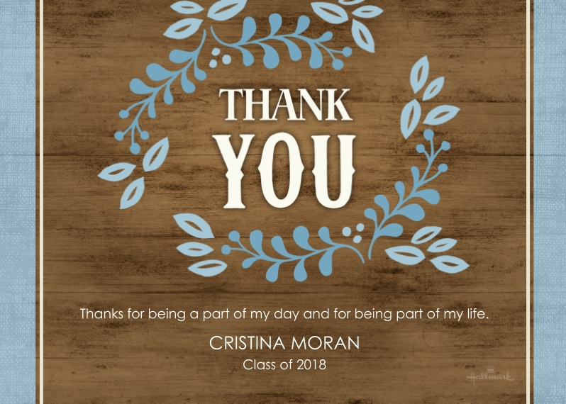Graduation Thank You Cards Mail-for-Me Premium 5x7 Folded Card , Card & Stationery -Rustic Wreath Thank You
