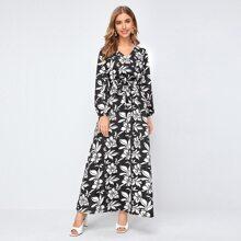 Kleid mit Blumen Muster, V Kragen und Selbstguertel