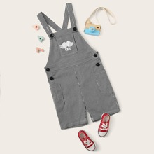 Boys Patch Pocket Letter Graphic Overall Shorts