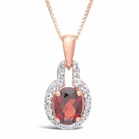 Womens Genuine Red Garnet 14K Rose Gold Over Silver Pendant Necklace, One Size , No Color Family
