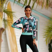 Tropical & Floral Zip-up One Piece Swimsuit