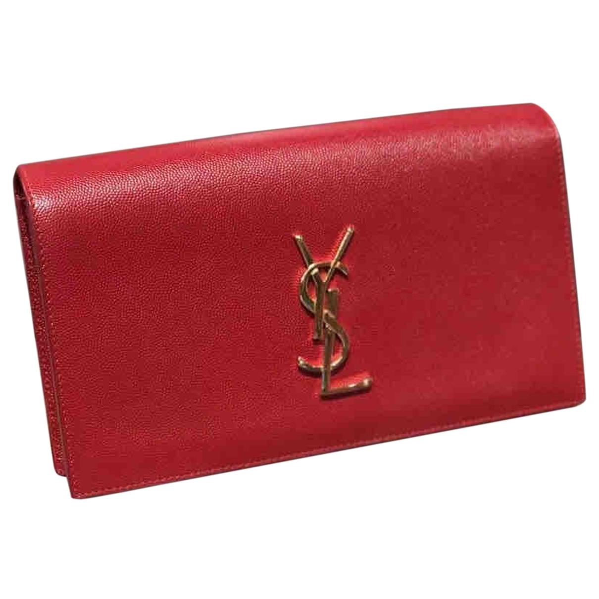 Saint Laurent Kate monogramme Handtasche in  Rot Leder