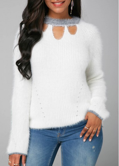 Women'S White Long Sleeve Mock Neck Sweater Pullover Mock Neck Casual Top By Rosewe - XXL