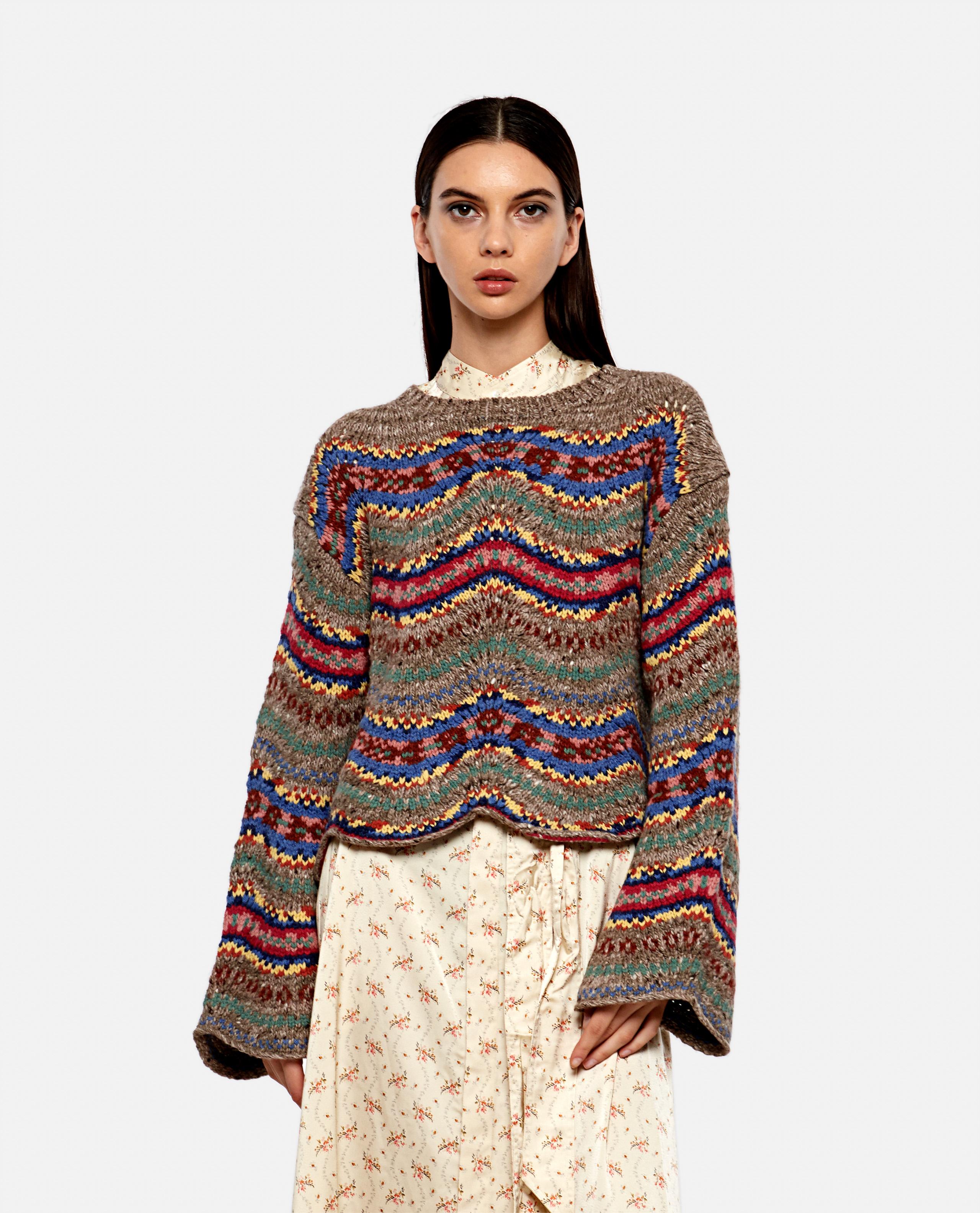 Fair Isle pointelle sweater