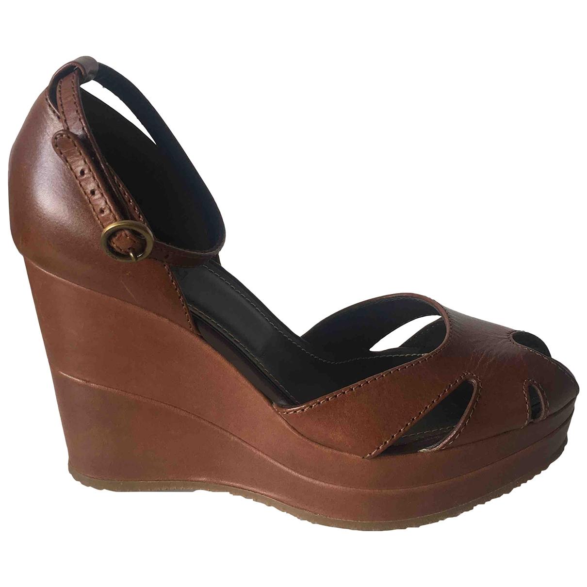 Hogan - Sandales   pour femme en cuir - marron