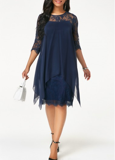 Women'S Navy Blue Chiffon Three Quarter Sleeve Cocktail Party Dress Solid Color Illusion Lace Overlay Knee Length Straight Dress By Rosewe - XL