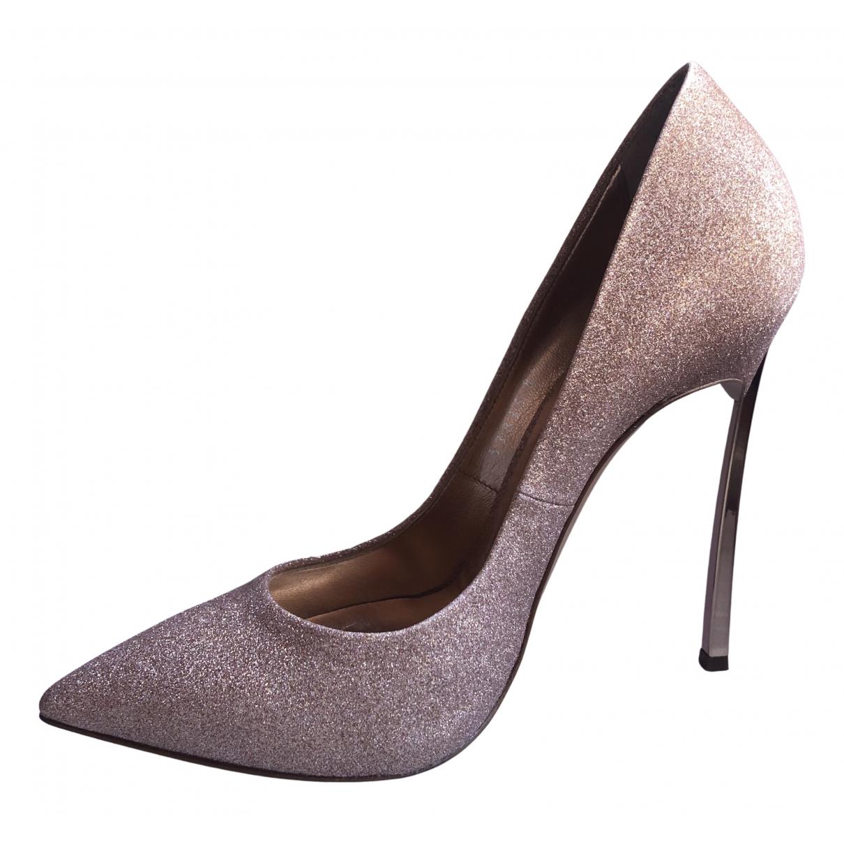 Casadei N Gold Leather Heels for Women 37.5 EU