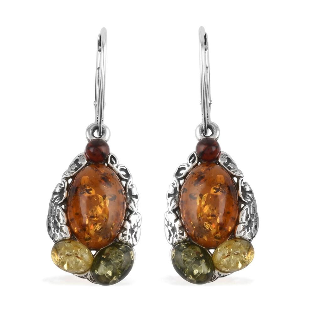 925 Sterling Silver Amber Dangle Earrings (White - White - Amber)