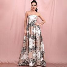 vestido maxi tubo con estampado barroco