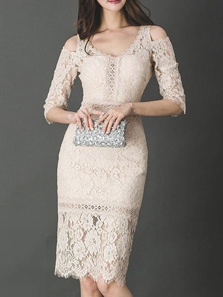 Milanoo Lace Dresses Ecru White Stretch Cut Out Sexy Dresses