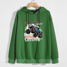 Guys Car & Letter Graphic Hoodie