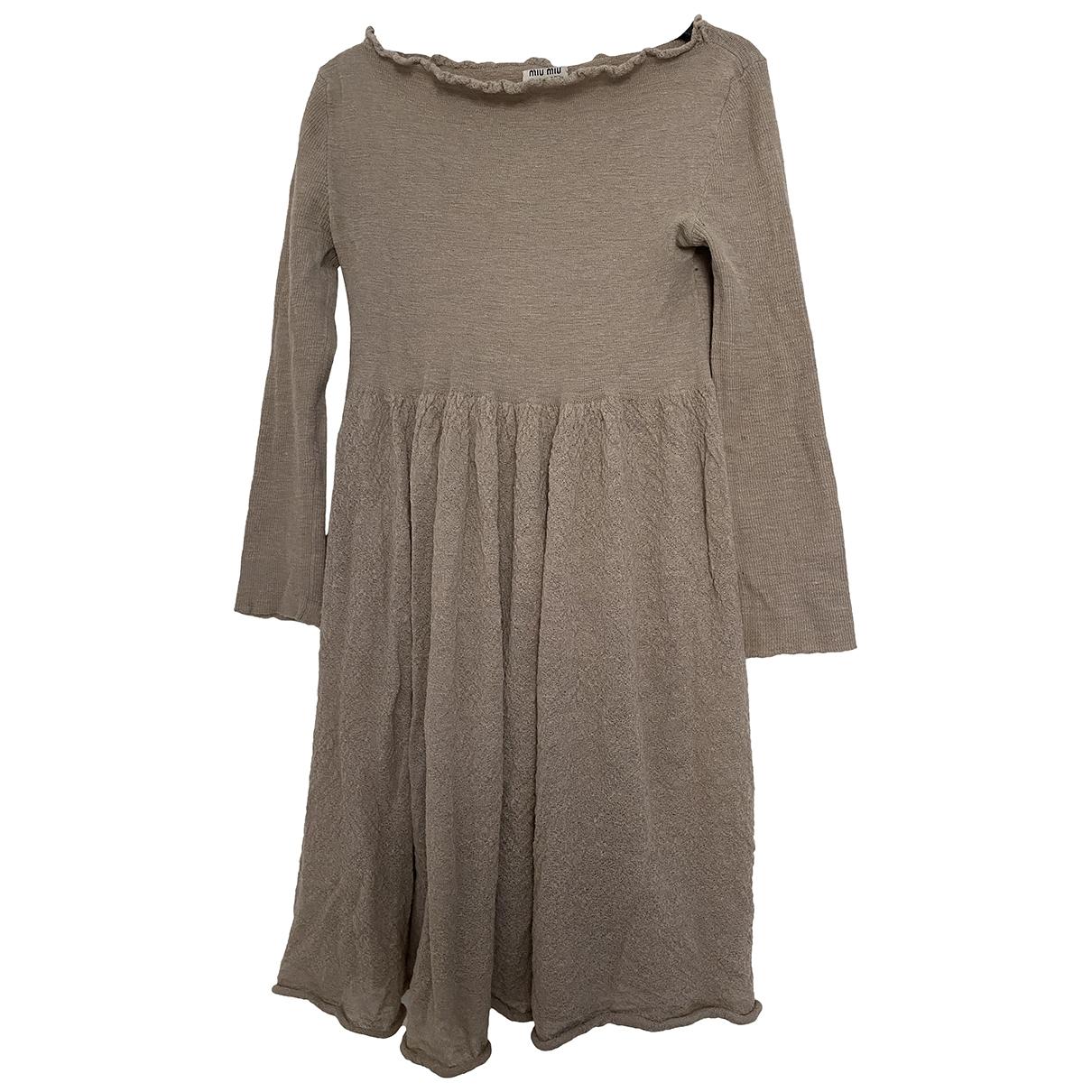Miu Miu \N Beige Wool dress for Women 38 IT