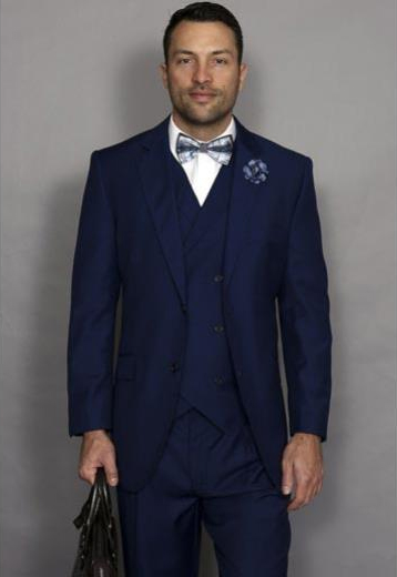 Men's Sapphire Blue 3Piece Italian Style Wool Double Breasted VestSuit