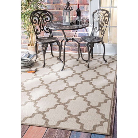 nuLoom Machine Made Gina Outdoor Moroccan Trellis Rug, One Size , White