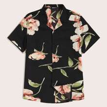 Men Notch Collar Floral Print Shirt