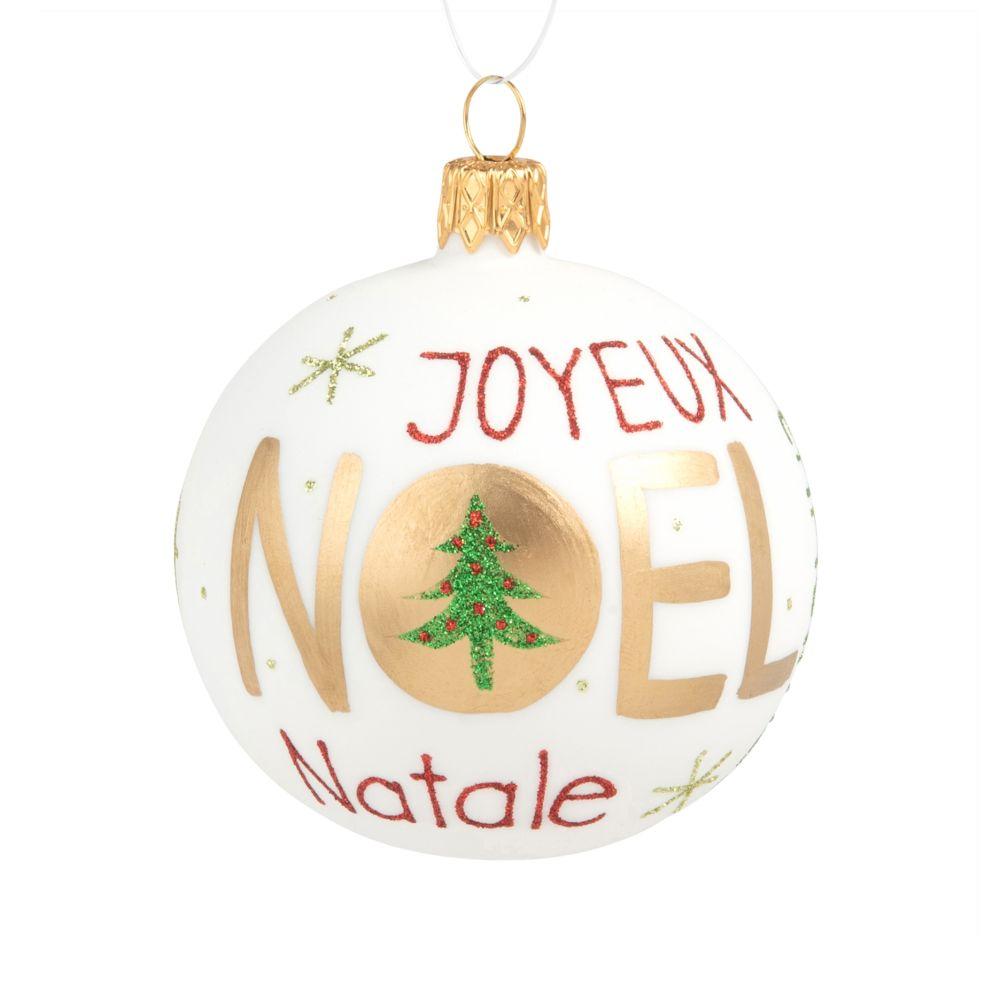 Weihnachtskugel aus Glas, weiss, goldfarben, rot und gruen