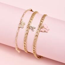 3pcs Butterfly Tassel Chain Anklet