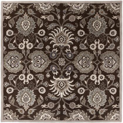 Caesar CAE-1063 6' Square Traditional Rug in Dark Brown  Taupe  Khaki  Medium Grey