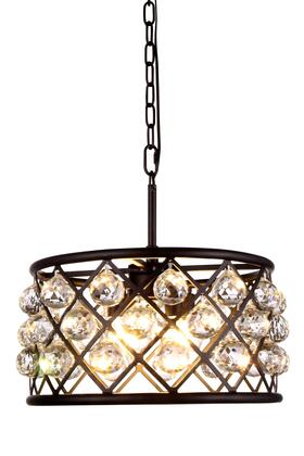 1214D16MB/RC 1214 Madison Collection Pendant Lamp D: 16in H: 9in Lt: 4 Mocha Brown Finish Royal Cut Crystal