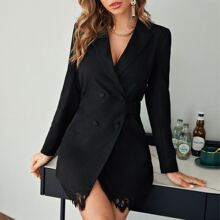 Peak Collar Double Breasted Eyelash Lace Hem Blazer Dress
