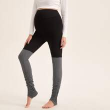 Maternity Wide Waistband Ruched Detail Two Tone Stirrup Leggings
