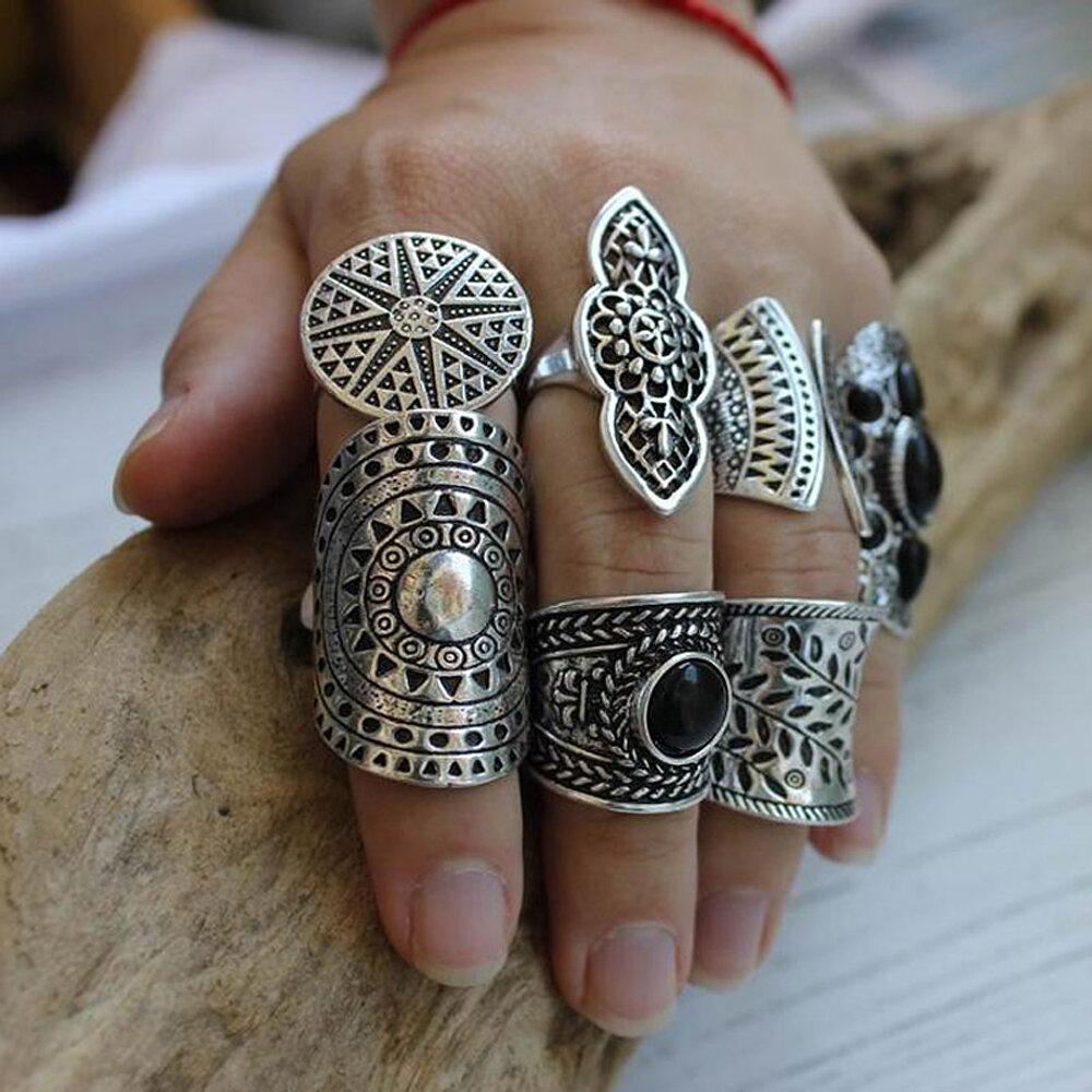 8 Pcs/Set Vintage Metal Carved Women Rings Set Bohemian Wide Silver Sun Jewelry Ring