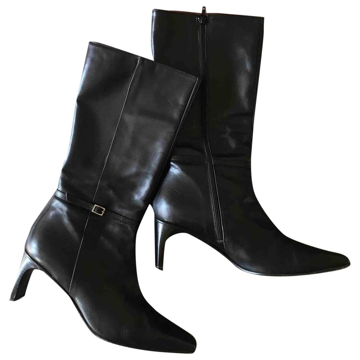 - Bottes   pour femme en cuir - noir
