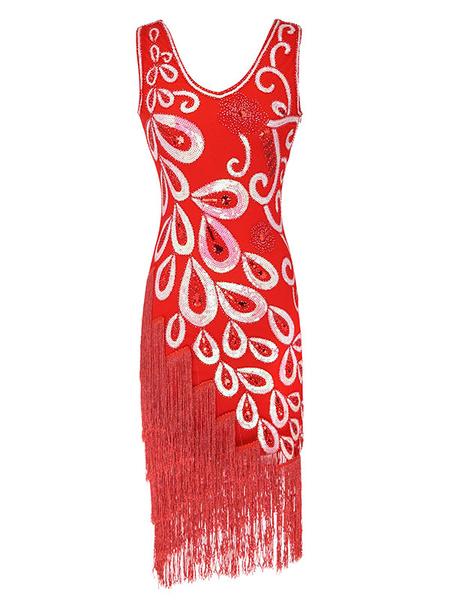 Milanoo Disfraz Halloween Vestidos años 20 rojo Charleston disfraz fibra de poliester Disfraces Retro de poliester para baile para adultos con vestido