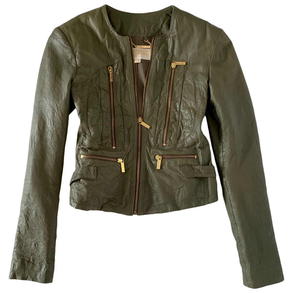 Michael Kors - Veste   pour femme en cuir - vert