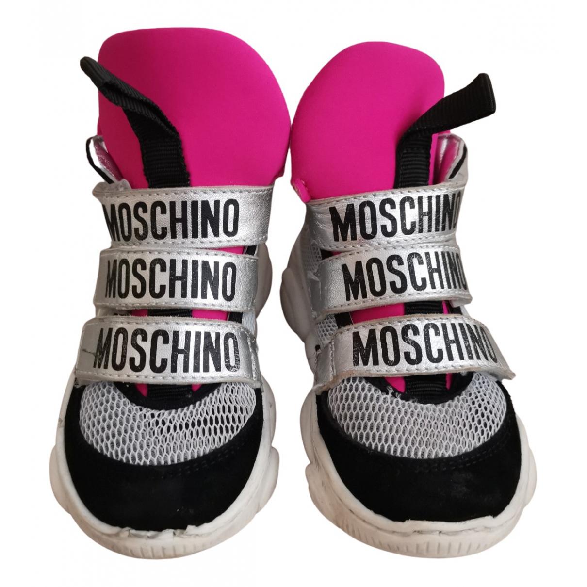Moschino - Baskets   pour enfant en toile - argente