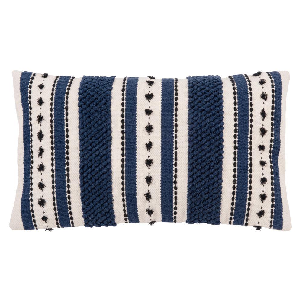 Kissenbezug aus Baumwolle mit Motiven, ecru und blau 30x50