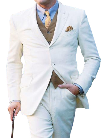 Mens Great Three Piece Off White Suit
