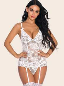 Floral Lace Garter Slips With Thong
